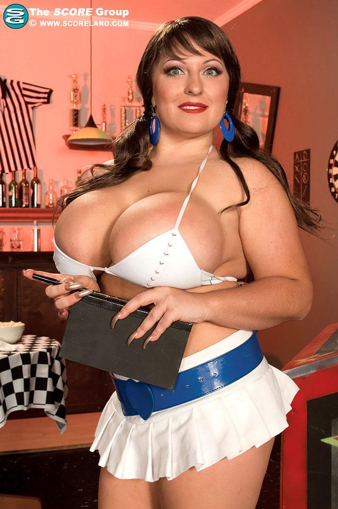 Big boobs waitress