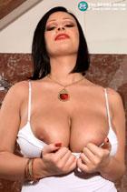 Ivy Darmon massage her big tits in the bathroom Scoreland.com