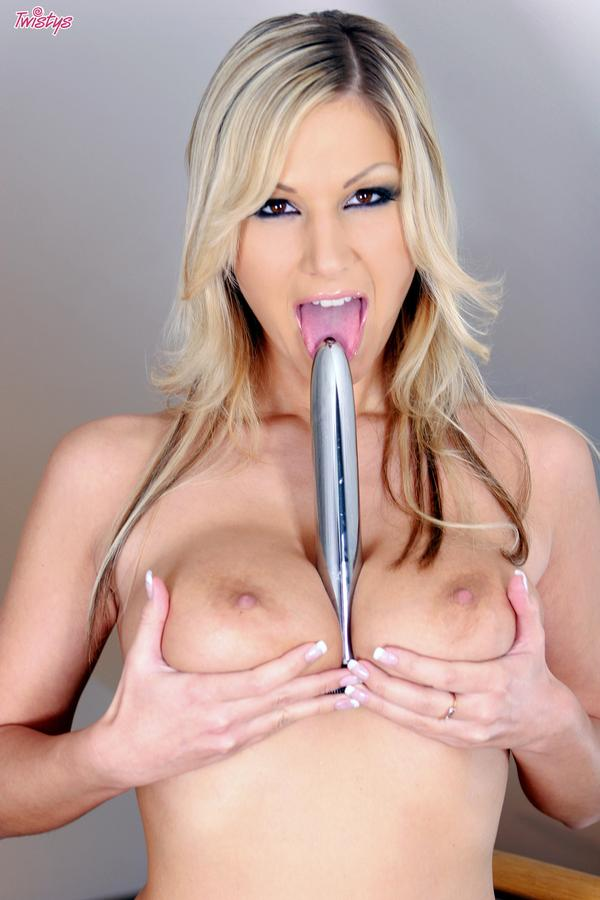Carol Goldnerova with her favorite silver dildo