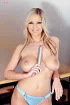 Carol Goldnerova with her favorite silver dildo
