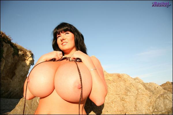 Rachel Aldana in bikini on the beach